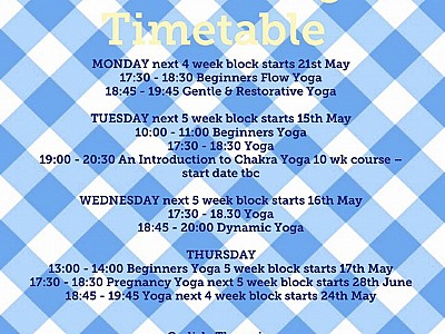 Summer Yoga Timetable